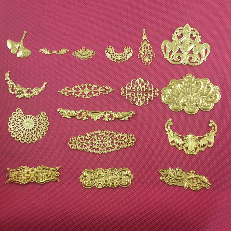 10 pieces / lot brass copper filigree flower Jewelry DIY Components Findings Headgear accessories