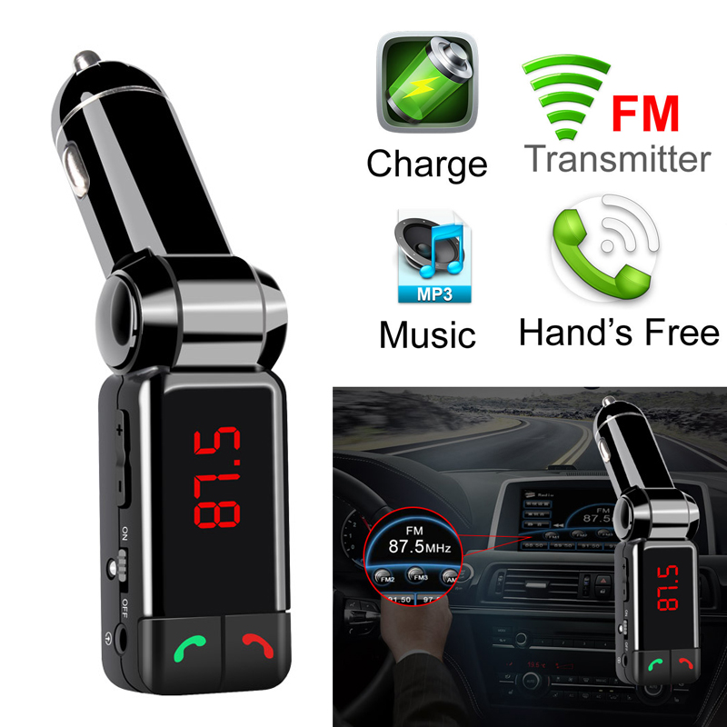 Car Bluetooth FM Transmitter Hands Free Bluetooth Car Kit MP3 Audio Player Wireless Modulator USB Charger BC06 for Mobile Phone gf7carkit driver high quality headsets business earbuds hands free earphones phone bluetooth car kit with car charger