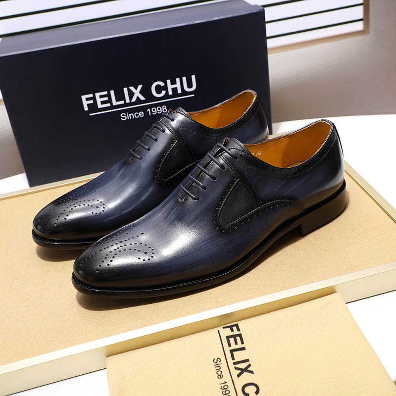 2019 High Quality Elegant Men's Medallion Oxford Shoes Genuine Leather Blue Wine-red Mens Dress Shoes Wedding Party Formal Shoes