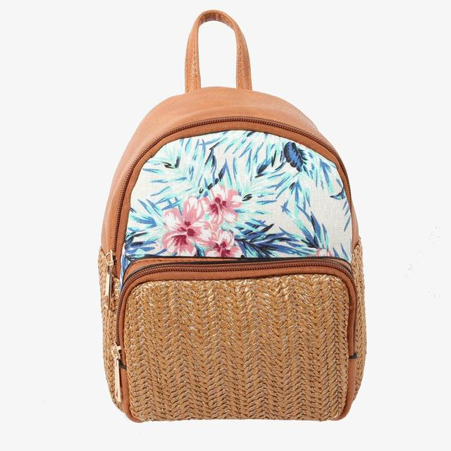 Lady Backpack woven by Brown straw style with flower pattern cotton striped lining women backpack  B-003