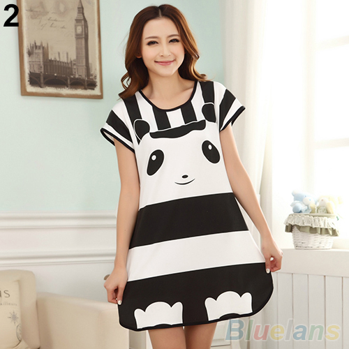 Great Cute Women's Cartoon Polka Dot Sleepwear Short Sleeve   Sleepshirt   6L7I