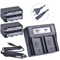 2Pcs 5200mAh NP F770 NP F750 NP F770 Np F750 Battery Ultra Fast LCD Dual AC