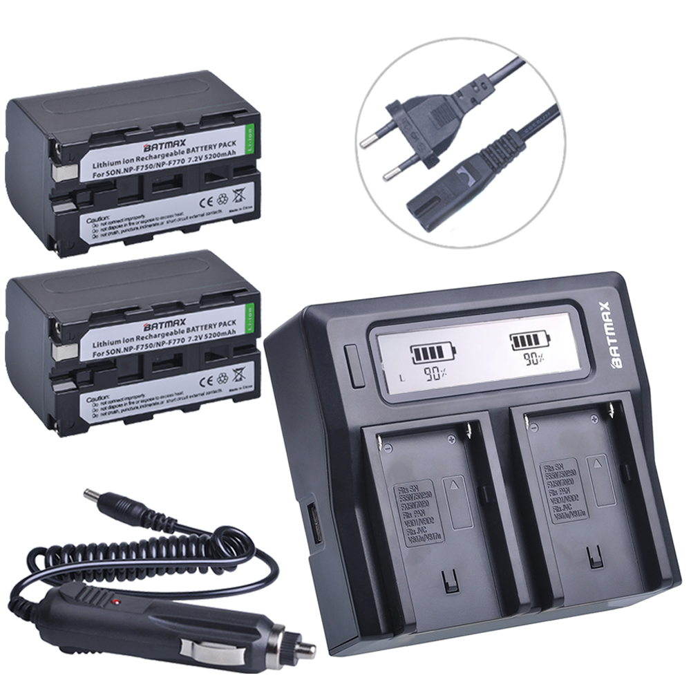 2 Pcs 5200 mAh NP-F770 NP-F750 NP F770 np f750 Batterie + Ultra Rapide LCD Double AC Chargeur Kits Pour Sony NP-F550 NP-F770 NP-F750 F960