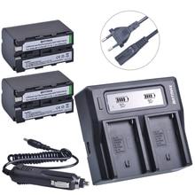 2 Adet 5200 mAh NP-F770 NP-F750 NP F770 np f750 Pil + Ultra Hızlı LCD Çift AC Şarj Kitleri Için Sony NP-F550 NP-F770 NP-F750 F960