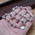 Nueva cruz de la manera pulsera de bolas pequeñas ideas 100% Real 925 joyería fina de plata Brazalete de la Pulsera para hombres y mujeres GB2