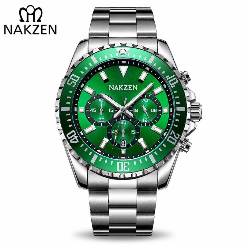 NAKZEN Men Business Quartz Watch Man Luxury Brand Wrist Watch Chronograph Army Military Sport Watches Clock Relogio Masculino