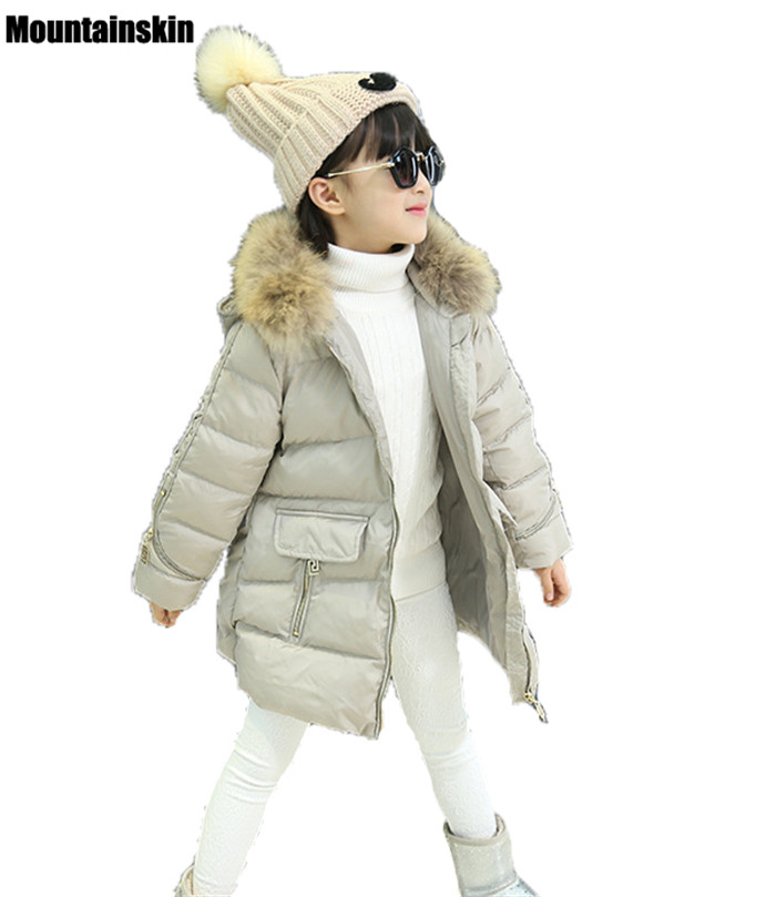 Mountainskin Girls Fashion Overcoat Children Tide Parkas Girl Warm Thick Coat Kids Casual Jacket Baby Girls Winter Outwear SC837 mountainskin 2017 winter autumn spring baby boys girl sweater kids rompers children suit cardigan thick warm outwear 0 24m sc895