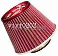 21052-red actuaciones coche del filtro de aire con alto flujo 76mm cuello universal para coche tubo de admisión de aire filtro de aire de carbono deporte filtro