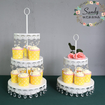 2 tiers 3 tiers Cake stand/cake tray with lace and carystal for wedding decoration
