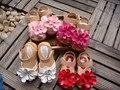 Сандалии детей с цветком для девочек, Дети корова мышцы подошва для девочек, Девочки обувь, Девушки кожаные туфли принцессы