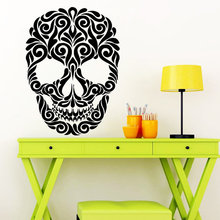 Hot Sale Vinyl Wall Sticker Sugar Art Skull Tattoo Face Head Mural Home Decor Floral Pattern Creative Decals Y-895