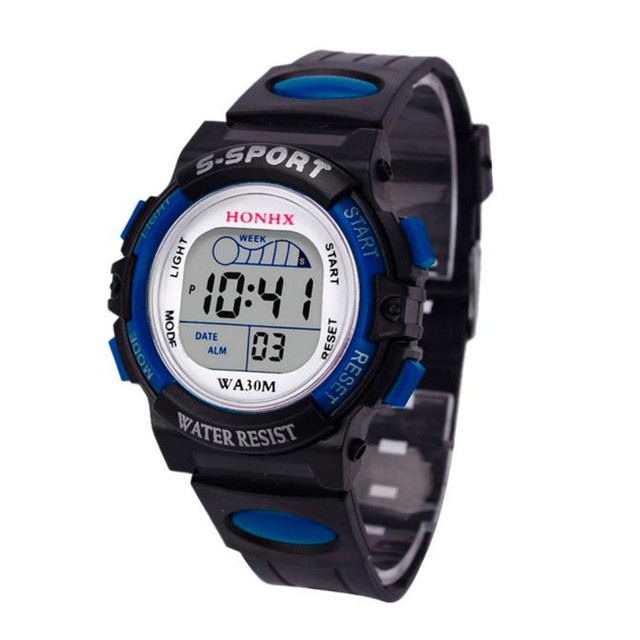 2018 Waterproof Children Boys Digital LED Sports Watch Kids Alarm Date Gift relo