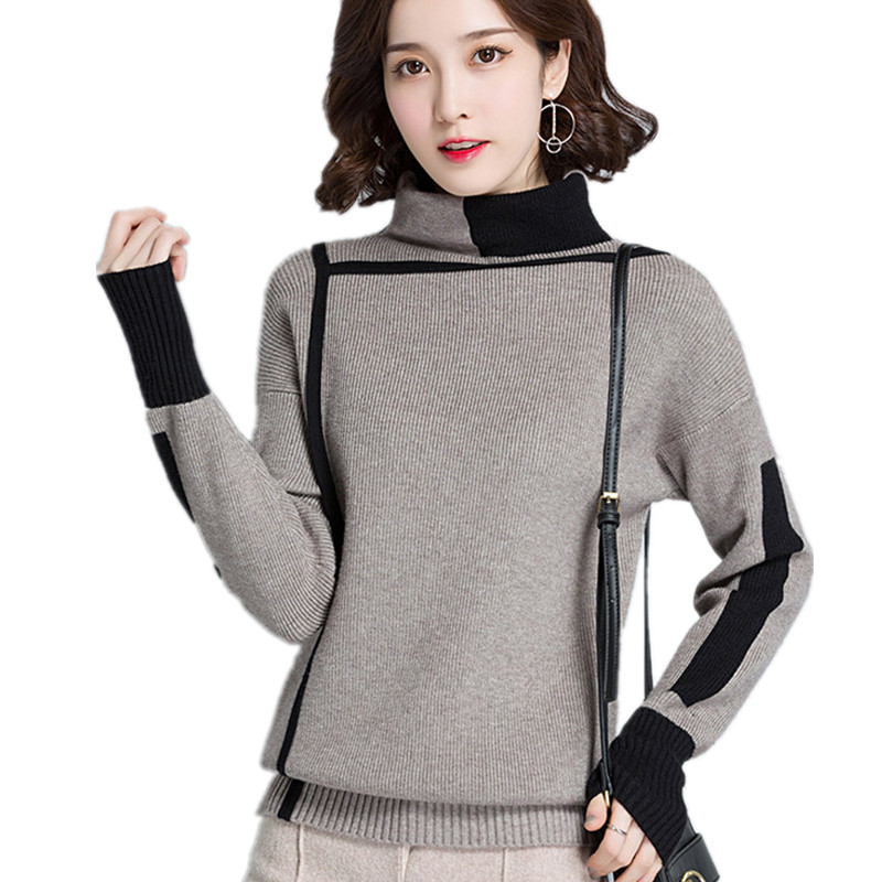 haute qualité grand assortiment meilleure collection US $14.81 30% OFF|Geometric line design Turtleneck Pullover Sweater women  2019 Autumn Winter jumper pull femme hiver Knitwear knitted sweater-in ...