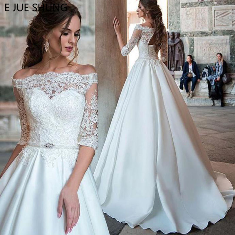 E JUE SHUNG White Lace Appliques Wedding Dresses Off The Shoulder Half Sleeves Bridal Dresses Pearls