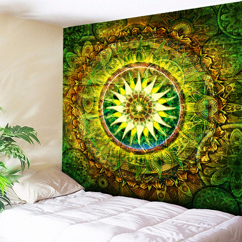 Large Size Wall Mandala Tapestry Bohemian Wall Hanging Art Carpet Blanket Yoga Mat Decorative Vintage Green Tapestry For Home