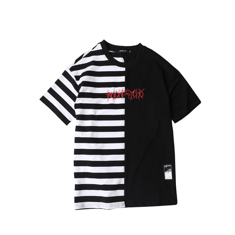 HTB1BUnBPXXXXXaUaXXXq6xXFXXXE - Striped T-shirt 2017 Summer Hip Hop kanye west embroidery T Shirts PTC 109