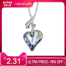 Neoglory Austria Crystal & Czech Rhinestone Love Heart Charm Pendant Long Necklace Elegant Romantic Holiday Valentine's Gift(China)
