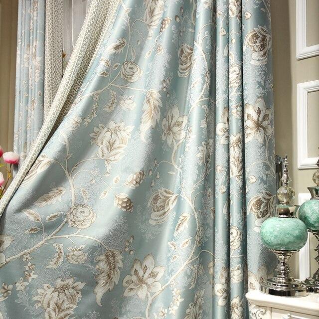 Edle Jacquard Gedruckt Vorhange Gold Blau Luxus Kuche Vorhange Bett