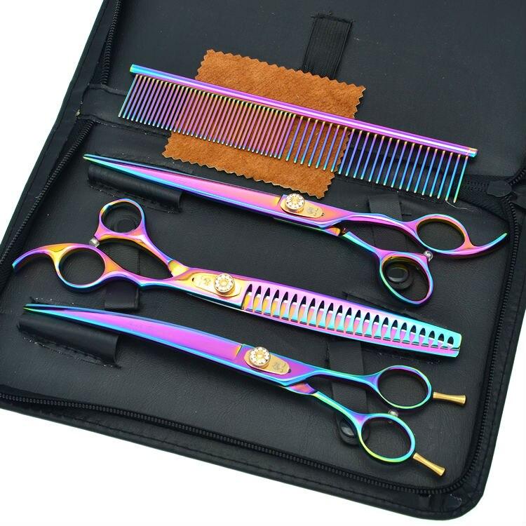 8.0 Rainbow Pet Scissors Dog Grooming Scissors Set Cutting & Thinning & Animal Curved Cutting Scissors, LZS0510