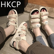 HKCP Sandal lady 2019 new summer edition Korean fairy wind sports shoe versatile flat bottom student beach tide C144
