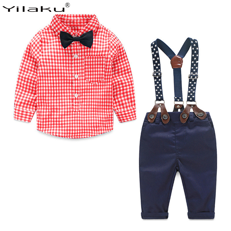 Yilaku Baby Boy Clothes Sets 6M-4years Long Sleeve Newborn Infant Clothing Gentleman Suit Plaid Shirt+Bow Tie+Suspender FF032