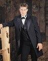 New Arrival Four Button Black Groom Tuxedos Groomsmen Men's Wedding Prom Suits Bridegroom (Jacket+Pants+Vest+Tie) K:859