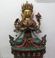 Ev ve Bahçe'ten Statü ve Heykelleri'de 003531 13 Tibet Saf Bronz kakma beryl turkuaz mercan Dört Silahlı Eller Kwan Yin Buda