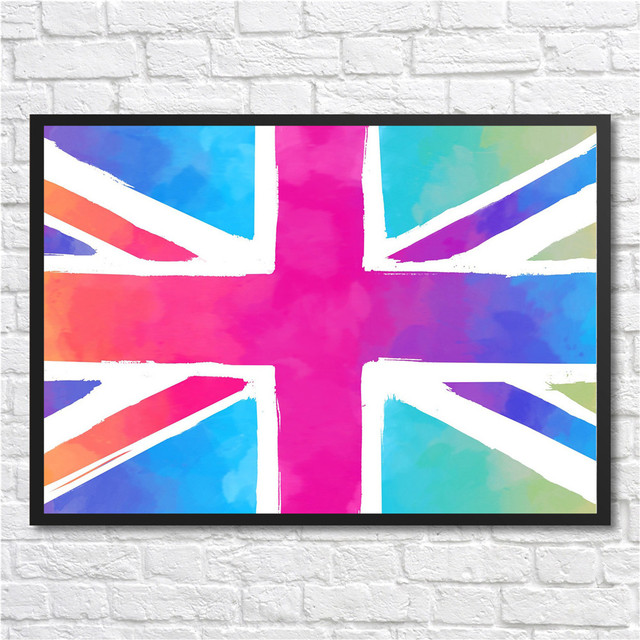 Free Ship Modern Minimalist British Flag Art Prints Poster Abstract ...