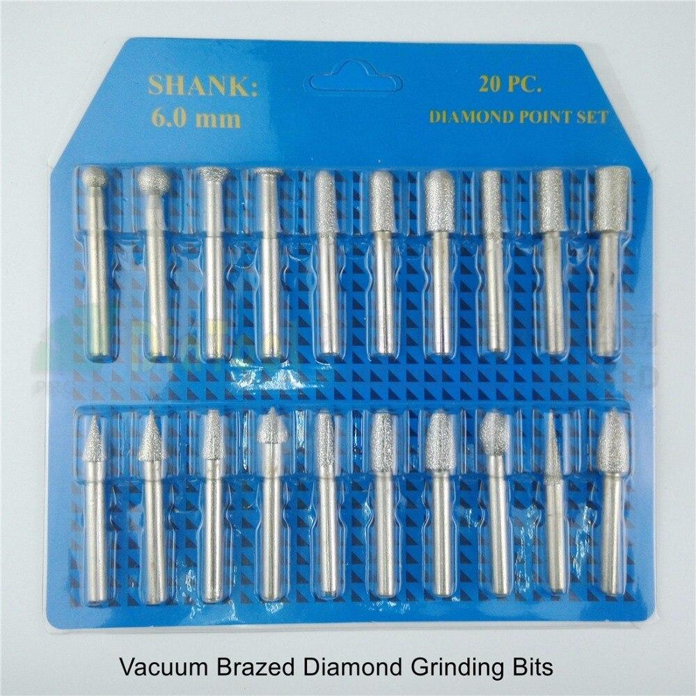 DIATOOL 20pcs set 46 Diamond Brazed Burrs Grinding Head For Engraver Engraving Bits Single Blister Pack