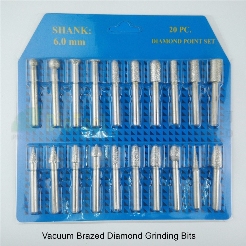 DIATOOL 20pcs/set 46# Diamond Brazed Burrs Grinding Head For Engraver Engraving Bits Single Blister Pack Stone Concrete Ceramic