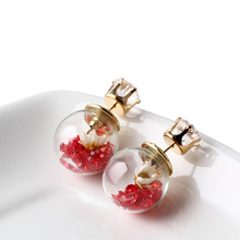Trendy Fine Jewelry Pure Color Flower in Glass Bottle other side with Imitation Diamonds Fashion Stud Earrings For Female EW1940
