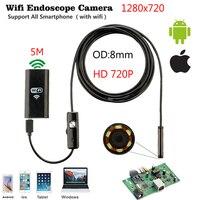 5m 6 LedHD Wireless Wifi Endoscope Camera Snake Inspection Camera 8MM Lens IP67 Waterproof Borescope Support