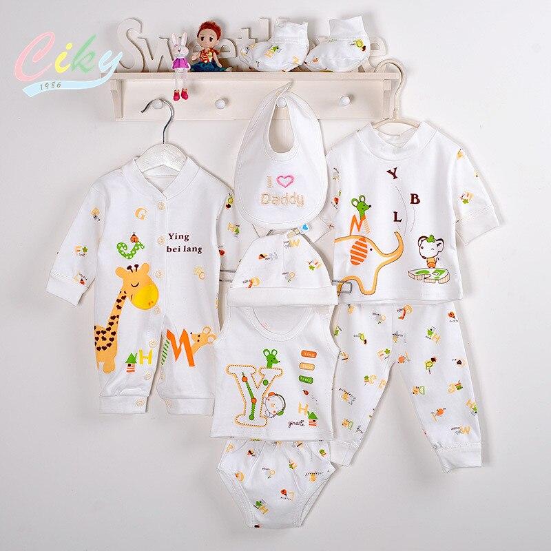 (8pcs/set)Newborn Baby 0-6M Clothing Set Brand Boy/Girl Clothes 100% Cotton Cartoon Underwear baby bib hat B-041