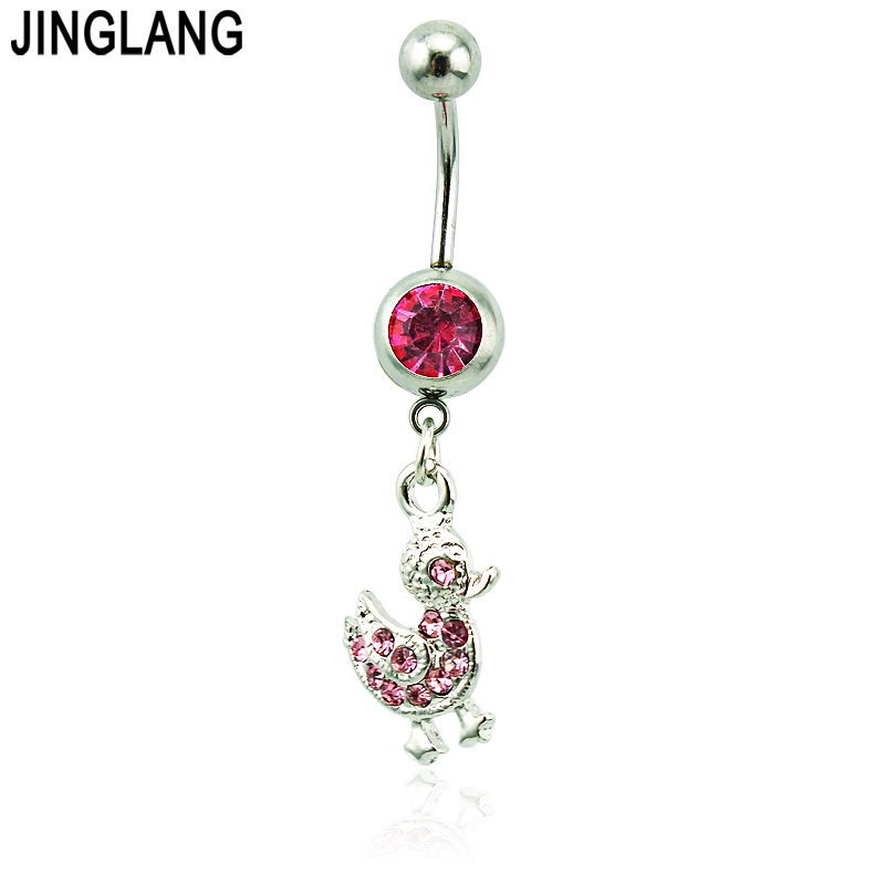 Body Piercing Fashion Belly Button Rings Surgical Steel Dangle Pink Rhinestone Duck Navel Rings Jewelry
