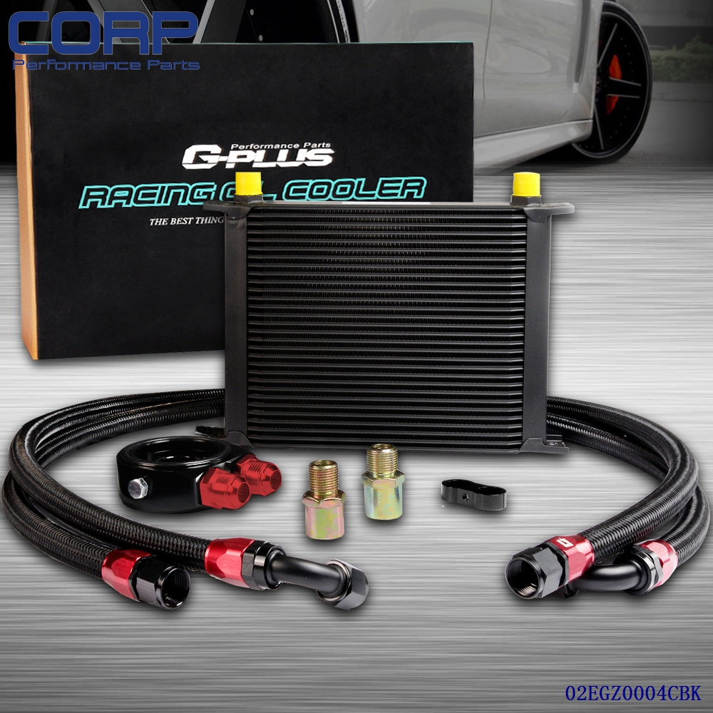 30 Row AN-10AN Universal Engine Transmission Oil Cooler + Filter Relocation Kit pqy racing universal 30 row an10 engine transmiss oil cooler kit filter relocation blue page 4
