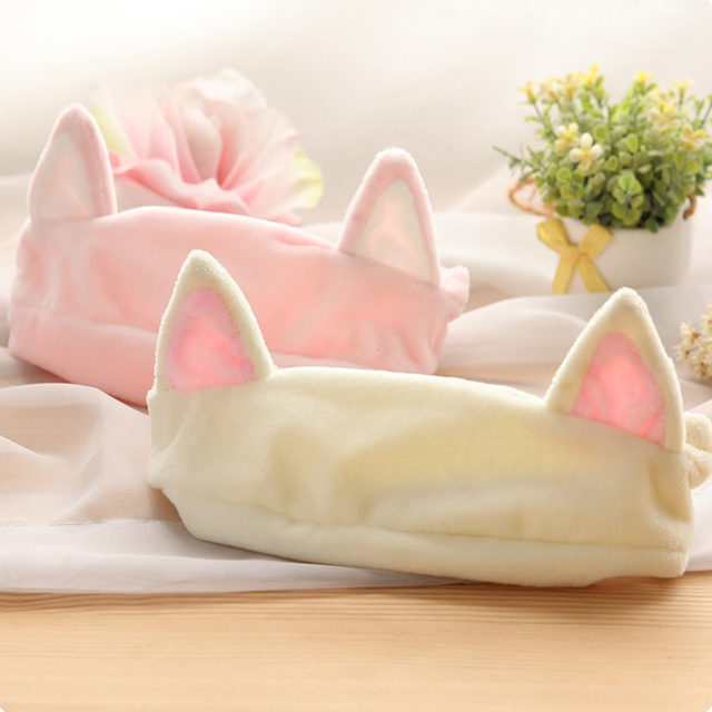 New 1PC Cat Ear Headband Women Hair Accessories Wash Shower Cap Head Ornaments Elastic Hairband Party Halloween Headdress