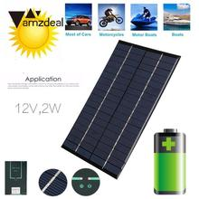 Amzdeal Portable 13.6x11x0.35cm Mini Solar Cell 2W DC 12V 160MA Resin Battery Power Supply Charger Silicon Soalr Panel