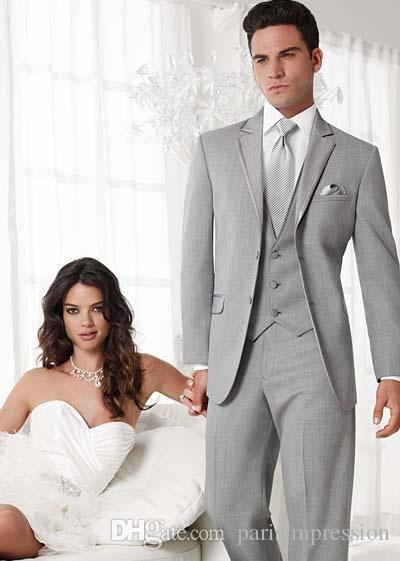 2018 New Arrival Formal Men Suits Light Gray Wedding For Notched Lapel Groomsmen Suit