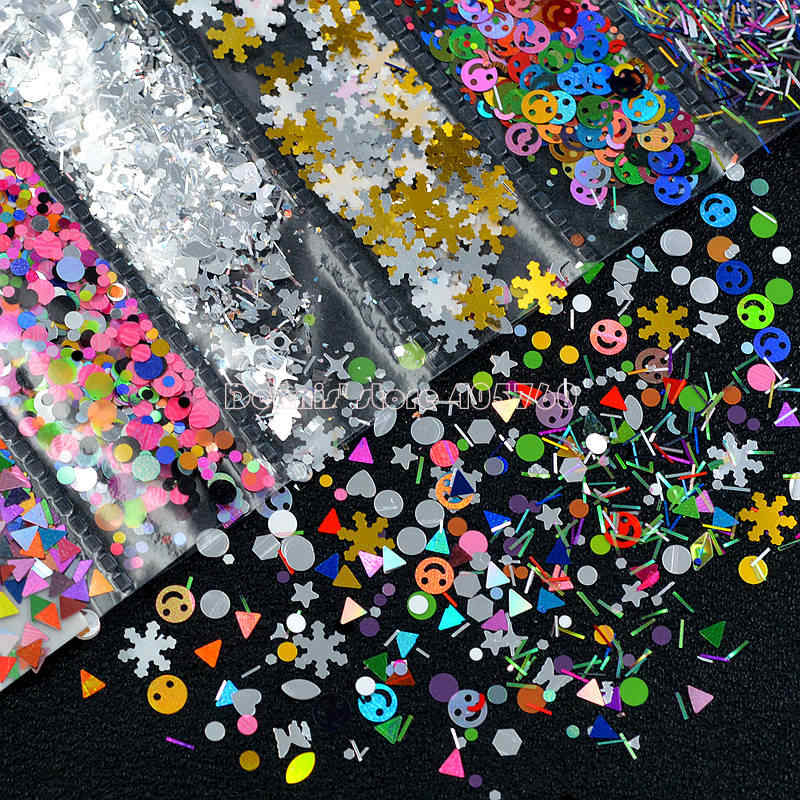 1 Pack Mix Shapes Multi-colored Glitter Smile Face Snowflake Butterfly Stripe Sequins Nail Art Slice Sticker Decoration G6