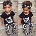 3PCS Toddler Set Kids Baby Girls Short Sleeve Letter Print T-shirt Tops +Floral Pants + Headband Outfits Clothes Set