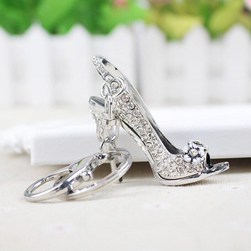 Fashion High Heel Shoes Key Chain Rhinestone Women Bag Charms Keyring Key Holder