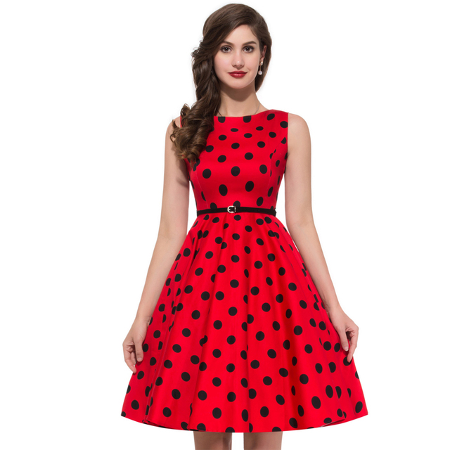60992829414f Women Summer Style Inspired Vintage clothing Retro 50s Big Swing audrey  hepburn Pinup Polka Dot plus size Woman Dresses vestidos