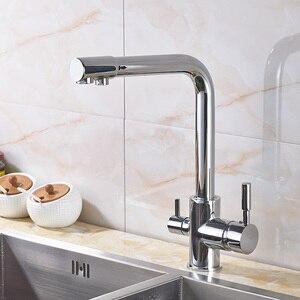 Image 4 - יוקרה Chrome פליז טהור מים מטבח ברז כפול ידית חמה וקר לשתיית מים 3 דרך מסנן מטבח מיקסר ברזים