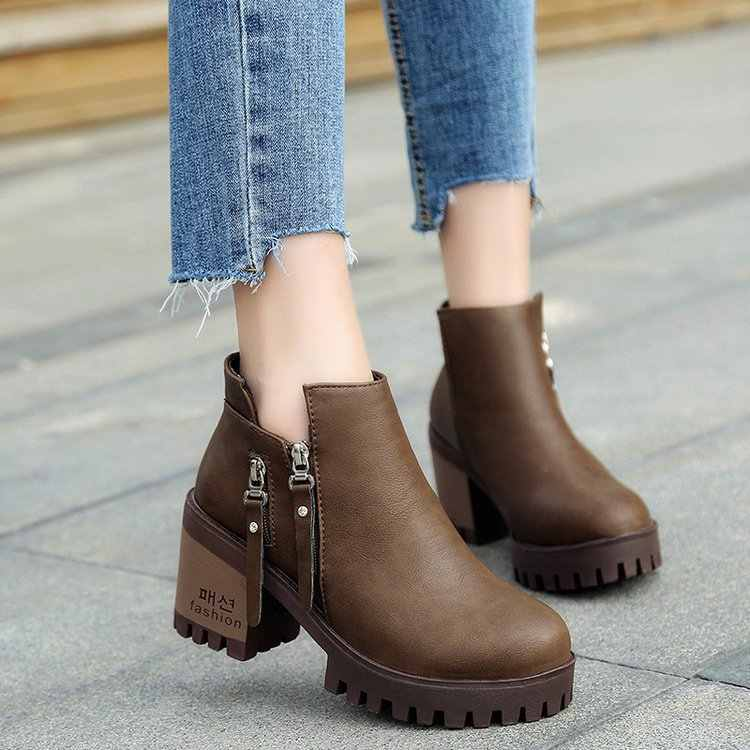Women Martin Boots Classic Zipper Ankle Boots Square Heels Chunky Heels Ladies Shoes Woman 35-40 C387