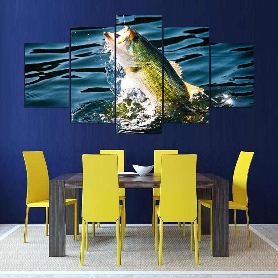 Modular Cheap Modern Frames For Painting 5 Panel Fish Pictures Wall Art For Living Room Home Decor Canvas Prints Poster
