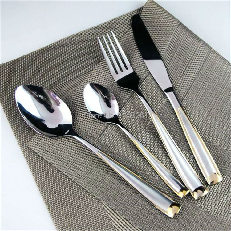 new 24pcs stainless steel gold flat ware sets plated cutlery dinner set tableware silverware dinner fork