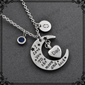 MJD9737 Personalized I  Love you To the moon and back Heart Urn Necklace Cremation Jewelry Memorial Ash Keepsake