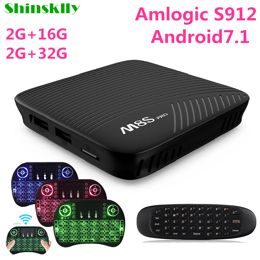 Shinsklly M8S PRO Android 7.1 TV BOX Amlogic S912 Octa core RAM 2GB/3GB+16GB Smart TV BOX 5G WIFI 4K*2K Media player set top box chycet t95r pro amlogic s912 smart android 6 0 tv box octa core 2gb 16gb 4k 2k dual band wifi smart tv player set top box