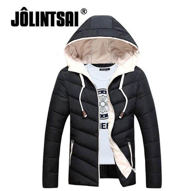 Jolintsai Parka Men Winter Jacket Plus Size L-4XL Hood Winter Jacket Men 2017 Fashion Solid Color Down Coat Slim Thicken Parka