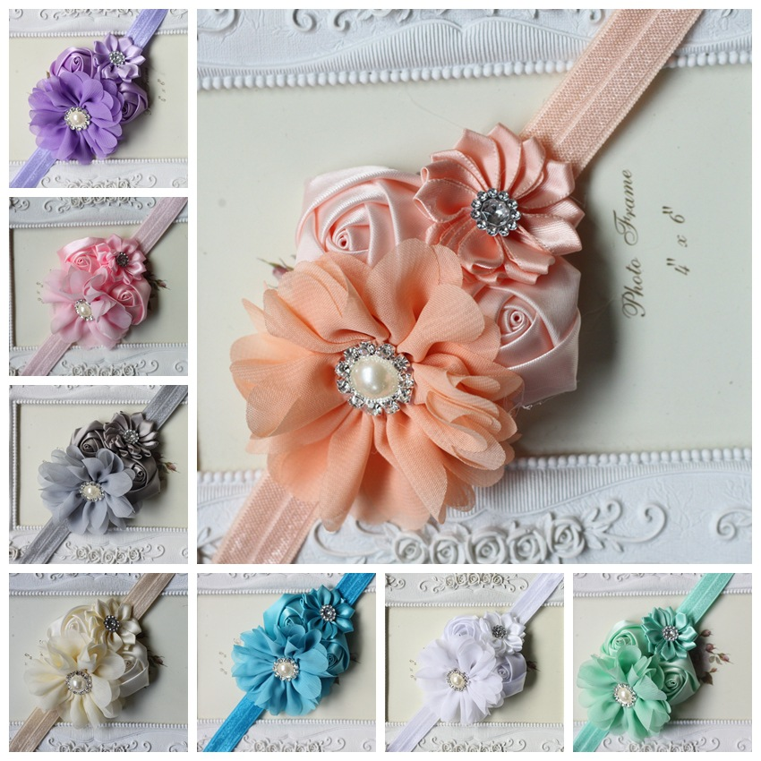 The new Children's hair band hair accessories chiffon fabric rosebuds combination plus drill baby flower headband headdress dhl or ems 120pcs two color crossed milk silk headband knotted hair band lady wash headdress td 31 hair accessories